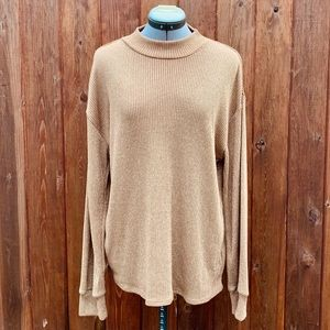 Lord & Taylor Metallic Gold Knit Pullover Sweater